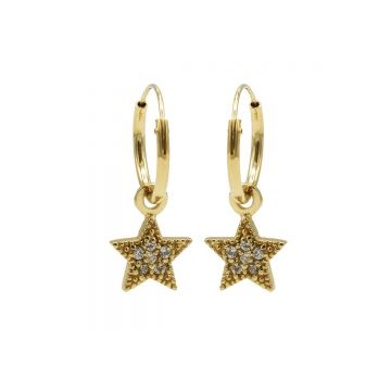 Hoops Symbol Zirconia Star Dots Goldplated (3pack)