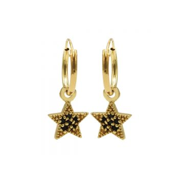 Hoops Symbol Black Zirconia Star Dots Goldplated (3pack)