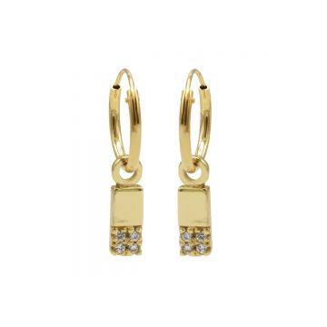 Hoops Symbol Zirconia Rectangle 2 Goldplated (3pack)