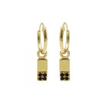 Hoops Symbol Black Zirconia Rectangle 2 Goldplated (3pack)