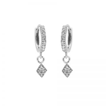 Zirconia Hinged Hoops Triple Diamond Silver
