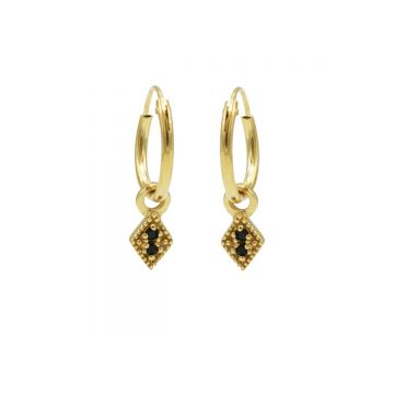 Hoops Symbol Black Zirconia Mini Diamond Goldplated (3pack)