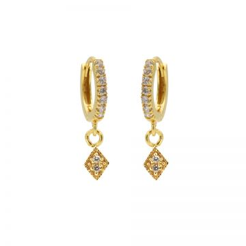 Zirconia Hinged Hoops Triple Diamond Goldplated