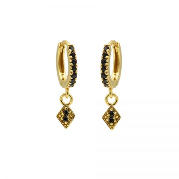 Zirconia Black Hinged Hoops Triple Diamond Goldplated