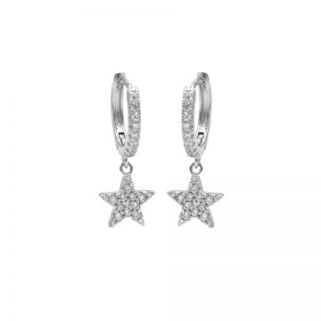 Zirconia Hinged Hoops Star Silver