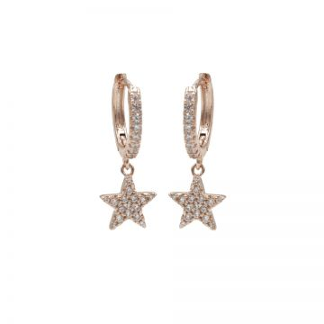 Zirconia Hinged Hoops Star Roseplated