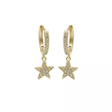 Zirconia Hinged Hoops Star Goldplated
