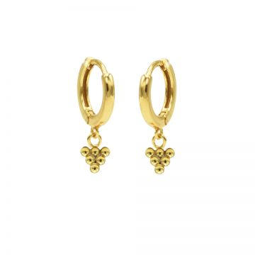 Hinged Hoops 6 Dots Goldplated