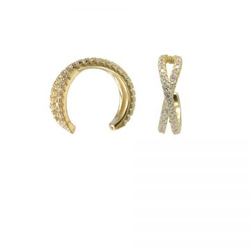 Earcuff Double Zirconia Goldplated (1 piece)