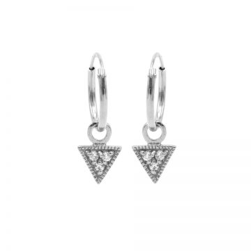 Hoops Symbols Triple Zirconia Triangle Silver
