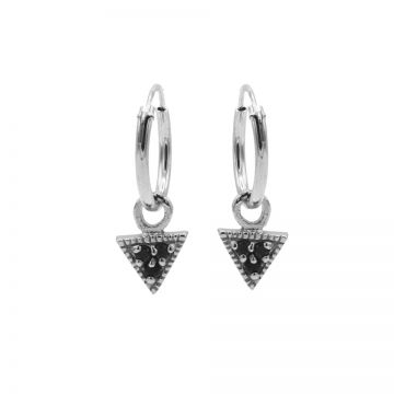 Hoops Symbols Triple Black Zirconia Triangle Silver