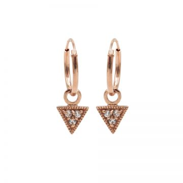 Hoops Symbols Triple Zirconia Triangle Roseplated