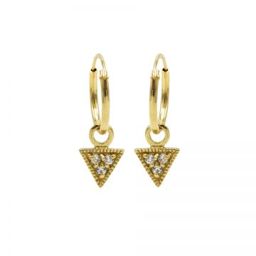 Hoops Symbols Triple Zirconia Triangle Goldplated