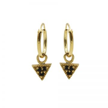 Hoops Symbols Triple Black Zirconia Triangle Goldplated