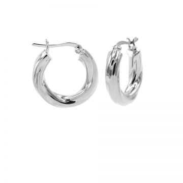 Plain Loose Twister Hoops Silver SMALL