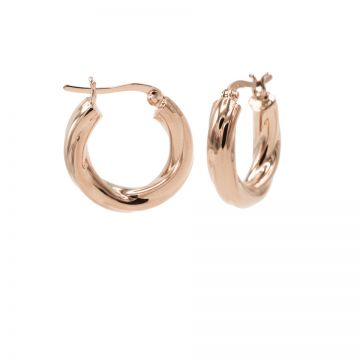 Plain Loose Twister Hoops Roseplated SMALL