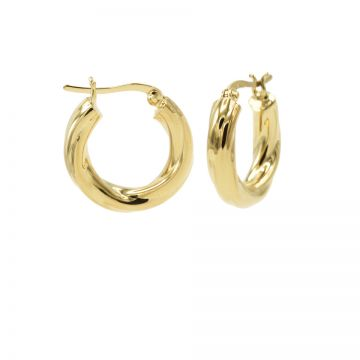 Plain Loose Twister Hoops Goldplated SMALL 19MM