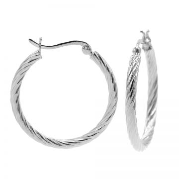 Plain Twister Hoops 2 Silver LARGE 30MM