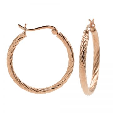Plain Twister Hoops 2 Roseplated LARGE
