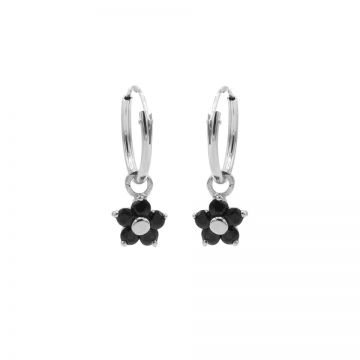Hoops Symbols Black Zirconia Flower 3 Silver