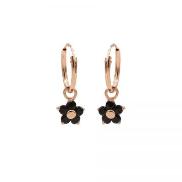Hoops Symbols Black Zirconia Flower 3 Roseplated
