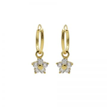 Hoops Symbols Zirconia Flower 3 Goldplated