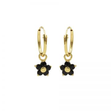 Hoops Symbols Black Zirconia Flower 3 Goldplated