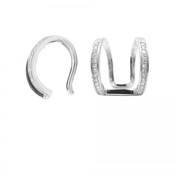 Earcuff Big Double Zirconia Silver (1 piece)