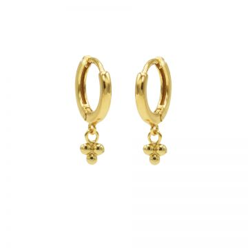 Hinged Hoops Triple Dots Goldplated