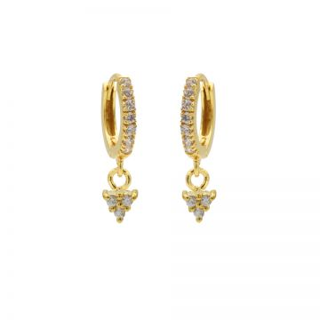 Zirconia Hinged Hoops Triple Goldplated