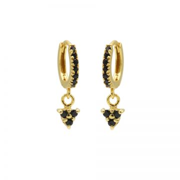 Zirconia Black Hinged Hoops Triple Goldplated