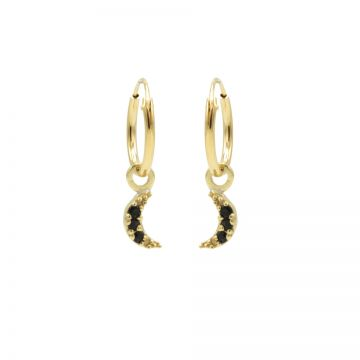 Hoops Symbols Black Zirconia Moon Goldplated