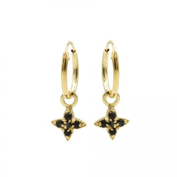 Hoops Symbols Black Zirconia Morningstar Goldplated