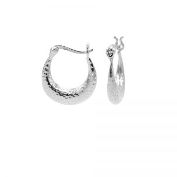 Plain Hoops Hammered Silver
