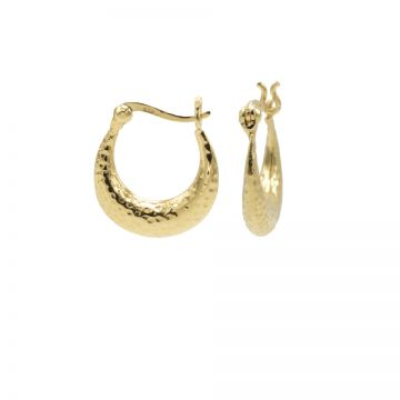 Plain Hoops Hammered Goldplated