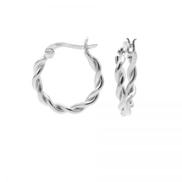 Plain Hoops Chunky Twisted SMALL Silver 20MM