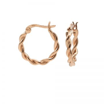 Plain Hoops Chunky Twisted SMALL Roseplated