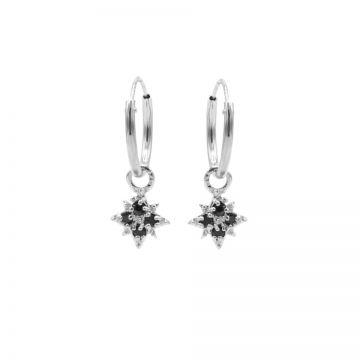 Hoops Symbols Black Zirconia Morningstar 2 Silver