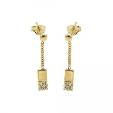 Chainstuds Zirconia Rectangle Goldplated