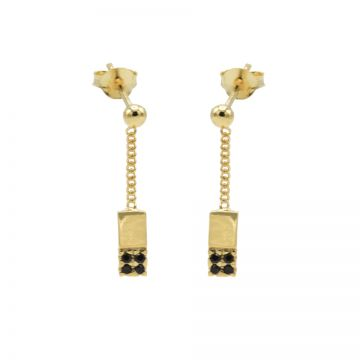 Chainstuds Black Zirconia Rectangle Goldplated