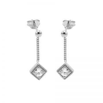 Chainstuds Zirconia Square Diamond Silver