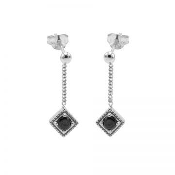 Chainstuds Black Zirconia Square Diamond Silver