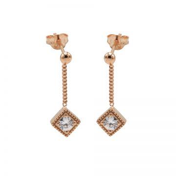 Chainstuds Zirconia Square Diamond Roseplated