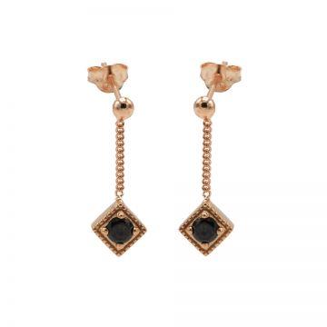 Chainstuds Black Zirconia Square Diamond Roseplated