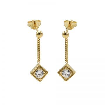 Chainstuds Zirconia Square Diamond Goldplated