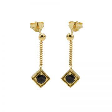 Chainstuds Black Zirconia Square Diamond Goldplated