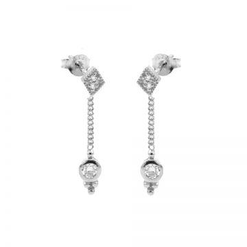 Chainstuds Diamond Zirconia Dot Triple Dots Silver