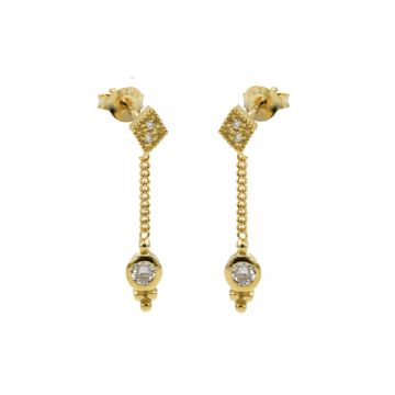 Chainstuds Diamond Zirconia Dot Triple Dots Goldplated