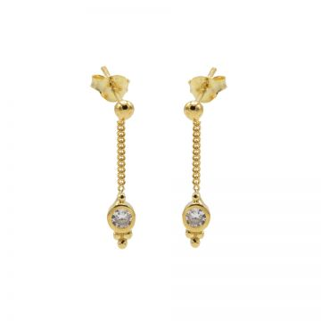 Chainstuds Zirconia Dot Triple Dots Goldplated