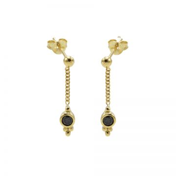 Chainstuds Black Zirconia Dot Triple Dots Goldplated